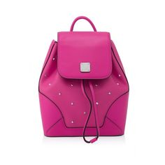 MCM Claudia Studs X-Mini Backpack ($420) ❤ liked on Polyvore featuring bags, backpacks, purple, pink studded backpack, pink mini backpack, mini studded backpack, studded backpack and draw string backpack