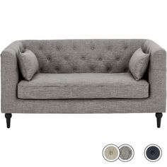 Flynn 2 Seater Sofa, Grey Linen Mix from Made.com. Blue. NEW Express delivery. A contemporary take on the classic Chesterfield design, with simplifi..