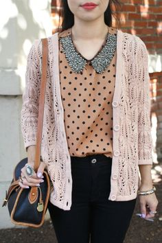 Blouse: love the contrast of the collar against the gold polka dot blouse. A wardrobe must! Love the gold color!!