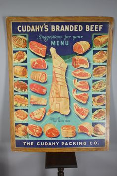 Vintage 40s Beef MEAT POSTER Butcher Oddity by SnootieBooty, $549.99