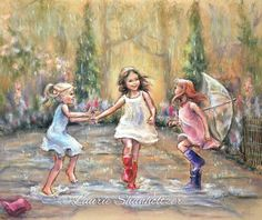 See prints and canvas http://etsy.me/2hRoWqX  Original sold - COME DANCE WITH MY MY FRIENDS! original painting by Laurie Shanholtzer ~Original has sold Find Canvas and paper prints here -  https://www.etsy.com/listing/267126826/dancing-rain-wall-art-girls-daughters
