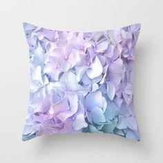 Soft Pastel Hydrangea Throw Pillow