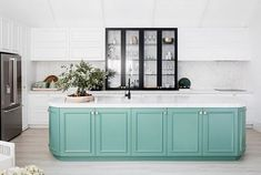 to embrace colour in the kitchen in 2019 Beautiful green kitchen island in kitchen makeover.Beautiful green kitchen island in kitchen makeover. Green Kitchen Island, Kitchen Tops, Mint Green Kitchen, Home Renovation, Home Remodeling, Kitchen Remodeling, Three Birds Renovations, Black Kitchens, Open Plan Living