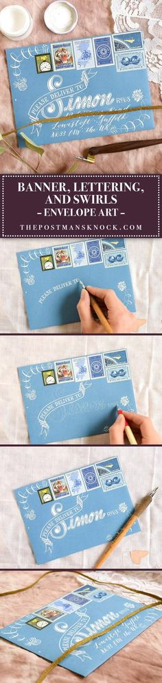 There's a lot going on in this envelope art! You could utilize this concept on any color of envelope; just make sure to adjust your ink color accordingly.