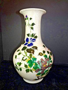 "Signed Mid 20th C Porcelain 16"" Vase Raised Enamel Crackle Glaze Flowers Japan"