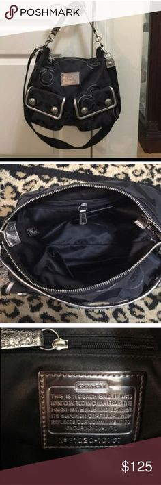 Coach poppy silver and black medium crossbody bag Coach poppy silver and black medium crossbody bag. 12 inches high and 15 in wide Coach Bags Crossbody Bags