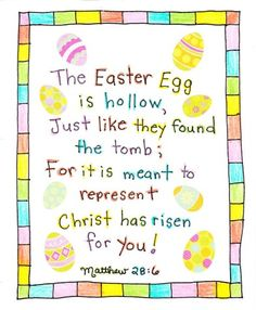 This Easter Egg is Empty Just like they found the tomb; for it is meant to represent Christ has risen for you!