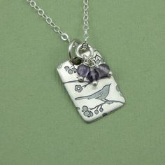 TheZenMuse on etsy.com: Songbird Motif Beaded Necklace - sterling silver handmade beadwork bird charm jewelry. So pretty!