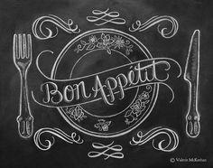 Chalkboard Art - French Country Kitchen - Kitchen Illustration - Bon Appetit Kitchen Art Print - Hand Lettering