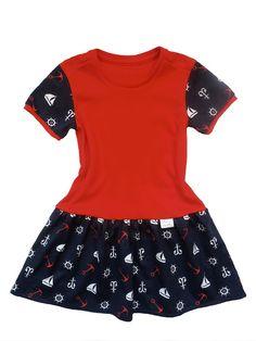 Dětské šaty červené s lodičkou.   Šaty jsou ušity z kvalitní, oboulícní, pružné bavlny, což je ideální materiál pro letní dny. Bavlna je měkká, savá a příjemná na dotek. Šatičky zdobí nabíraná a vzdušná sukýnka.