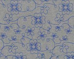 28,99€/m - Bestickter Jersey KNIT EMBROIDERY, Blumenranken, grau meliert-blau