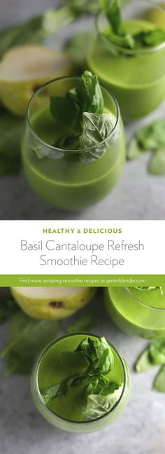 Basil Cantaloupe Refresh Smoothie on Green Blender Cantaloupe Smoothie, Juice Smoothie, Smoothie Drinks, Cocktail Recipes For A Crowd, Easy Summer Cocktails, Summer Sangria, Fat Burning Smoothies, Weight Loss Smoothies, Weight Loss Drinks