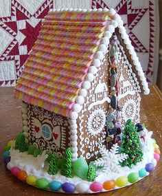 Love the PEZ roof! 25 Gorgeous Gingerbread Houses - The Cottage Market