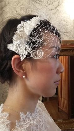 Lace and net matching head piece