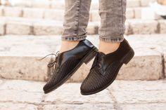 Zwarte lederen schoenen geweven Oxford schoenen nauwe door BangiShop