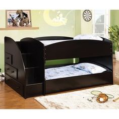 Merritt white finish wood twin over twin short style bunk bed with