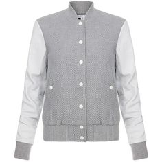 Elizabeth And James Sam Leather Sleeve Baseball Jacket (€280) ❤ liked on Polyvore featuring outerwear, jackets, grey, varsity bomber jacket, leather jacket, real leather jacket, genuine leather jacket und varsity jacket