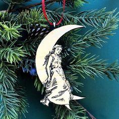 Moon Ornament, Celestial Christmas Ornament, Antique Christmas Ornament, Moon Charm, Moon Pendant, Moon Rear View Mirror Charm  10$ Antique Christmas Ornaments, Dog Ornaments, Vintage Christmas, Pet Memorial Gifts, Dog Memorial, Vintage Moon, Realtor Gifts, Paper Moon, Moon Charm