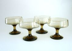 Vintage Smokey Tawney Brown Glass Dessert Dish, Champagne Glass, Footed Shebert Cocktail Ice Cream Glass, Mid-Century Glassware, Stemware, by ninthstreetvintage, $20.00