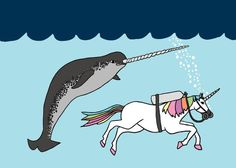 Unicorn and Narwhal swimming buddies 5x7 print by linedraw on Etsy, $15.00