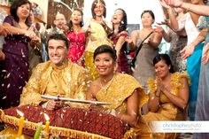 photos of cambodia married couples | People throwing flowers to the newly wed couple as a sign of blessing ...