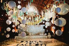 LOOK AT THIS ✨🙌🏻 wedding reception dance floor of dreams! Balloons, disco ball, and lanterns! Disco Theme Parties, Disco Party Decorations, Cheap Wedding Decorations, Birthday Parties, Disco Birthday Party, Kids Disco Party, Dance Decorations, Prom Party, 40th Birthday