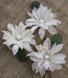 Burlap Flowers with Stems set of 12 Daisies / by BloomingBurlap