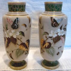 Bohemian Harrach Pair Art Glass Vases Hand Painted Butterflies & Flowers C 1890 from Darcy's Antique Treasures