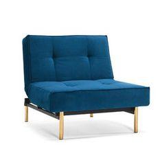 Splitback Velvet Blue Chair / Brass Legs by Innovation