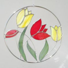 Red and Yellow Tulip Circle Stained Glass and Wire #tulips #stainedglass #fivesparrowsglass