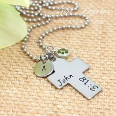 Hand Stamped Bible Verse Necklace, Personalized Bible Necklace, Cross with Initial Necklace, Bible Verse Necklace, Baptiam Necklace by ANNBIJOUXNEWYORK on Etsy