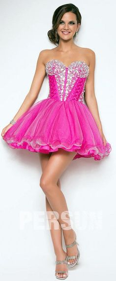 4362770336d Petite robe fuchisa jupe bouffante bustier coeur orné de perlée pour Noël  ou Nouvel an Robe