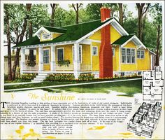 The Sunshine Kit House Floor Plan made by the Aladdin Company in Bay City Michigan in 1920 Vintage