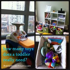 Overwhelmed with push-toys, board books and noisy toys? Tips for decluttering toddler toys.
