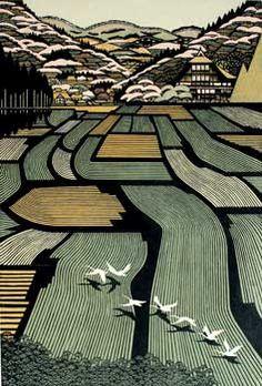 Ray Morimura: House in Tamugimata, woodblock, 1999