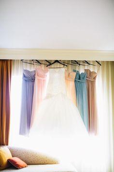Love the idea of long pastel bridesmaid dresses