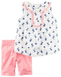 Carter's Girls' 2 Pc Playwear Sets 259g360, Print, 4T. 2 piece playwear set. Allover palm tree print on sleeveless top with fringe trimmed yolk. No pinch elastic waistband on cross dyed neon bike short.