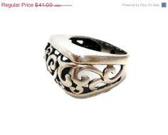 BIG SALE Wide Sterling Silver Ring Vintage Size 6 Open Work Scroll