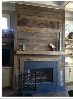 Most Simple Tips and Tricks: Fireplace Makeover Whitewash living room fireplace wall.Marble Fireplace Mantle wood fireplace how to make. Reclaimed Wood Fireplace, Fireplace Redo, Rustic Fireplaces, Fireplace Remodel, Fireplace Design, Fireplace Ideas, Shiplap Fireplace, Simple Fireplace, Pallet Fireplace