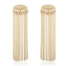 Fern Freeman's marquise-shaped fringe earrings with pavé diamonds accents, made in 18-karat yellow gold