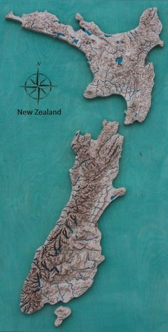 New Zealand Wooden Map, colored Map Of New Zealand, Travel Presents, City Layout, Wooden Map, Map Painting, City Model, Travel Memories, Crafty Craft, Map Art