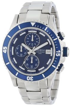 Armitron Men's 20/4788BLSV Multi-Function Chronograph Blue Dial Silver-Tone Stainless Steel Bracelet Watch
