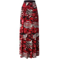 Philipp Plein \'Flying\' Skirt (€400) ❤ liked on Polyvore featuring skirts, long skirts, colorful maxi skirts, multi colored maxi skirt, long red skirt and long colorful skirts