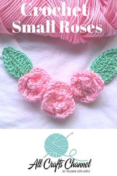 Crochet Flower Patterns Crochet these small roses. They are very easy to make and are a great way to embellish other projects such as shirts, hats, sweaters, etc. Here I added them to a plain white-shirt along the V-neckline. Crochet Small Flower, Unique Crochet, Crochet Flower Patterns, Crochet Designs, Crochet Flowers, Crochet Appliques, Crochet Gifts, Diy Crochet, Crochet Ideas