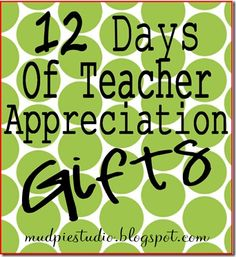 What a fantastic Christmas gift idea for all of the teachers in your kids' lives: 12 Days of Teacher Appreciation Gifts. Small, inexpensive, fun, creatively packaged gifts to give, one a day, during the 12 days leading up to Christmas (or Christmas break!). I'm thinking many of these cute gift ideas can work just as well as token gifts for work colleagues or even serve as party favors.