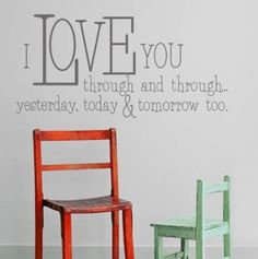 Amazon.com: I Love You Through and Through - Wall Decal - Wall Vinyl (Black): Home & Kitchen
