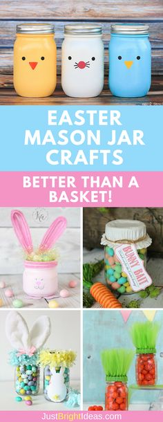 """These Easter Mason Jar Crafts make the cutest """"baskets"""" to fill with treats for the kids {and grownups!} to enjoy. Don't miss the AMAZING carrots at number 2 #easter"""