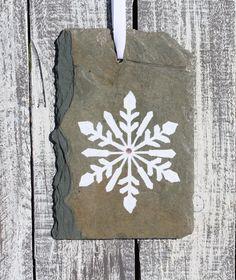 Slate Snowflake Ornament Hand painted Upcycled by SlatedInSpirit