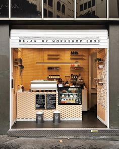 Espresso Bar hole in the wall Cafe Shop Design, Small Cafe Design, Kiosk Design, Cafe Interior Design, Small Coffee Shop, Coffee Shop Bar, Coffee Store, Cafe To Go, Food Stall Design