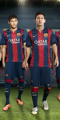 Barcelona 2015 Nike Home (Neymar, Lionel Messi) my two favourite players ♡ Good Soccer Players, Best Football Players, World Football, Sport Football, Football Shirts, Barcelona 2014, Barcelona Shirt, Barcelona Football, Neymar Jr